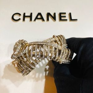 Chanel crystal double cuff